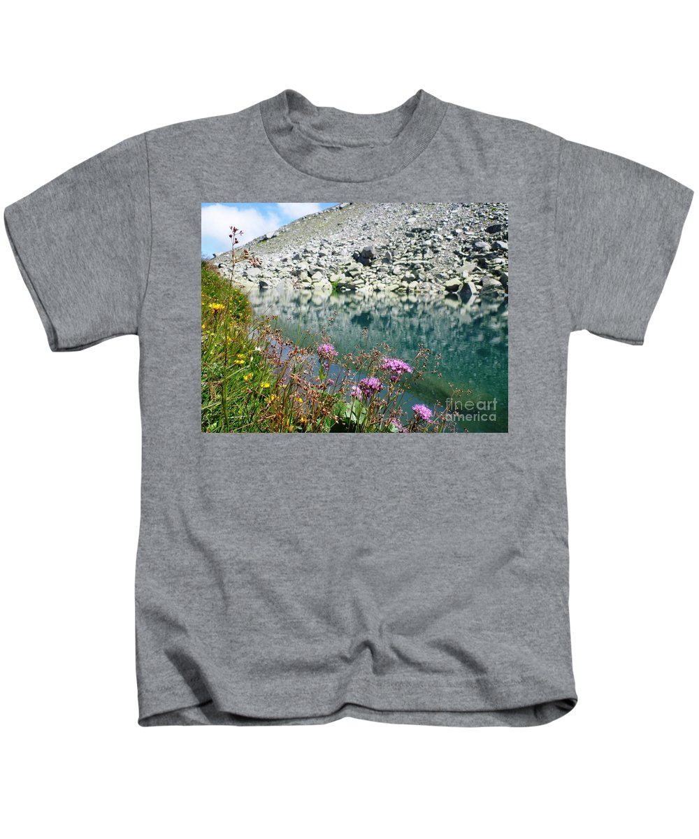 Alpine Kids T-Shirt featuring the photograph Alpine Lake And Flora by Cristina Stefan