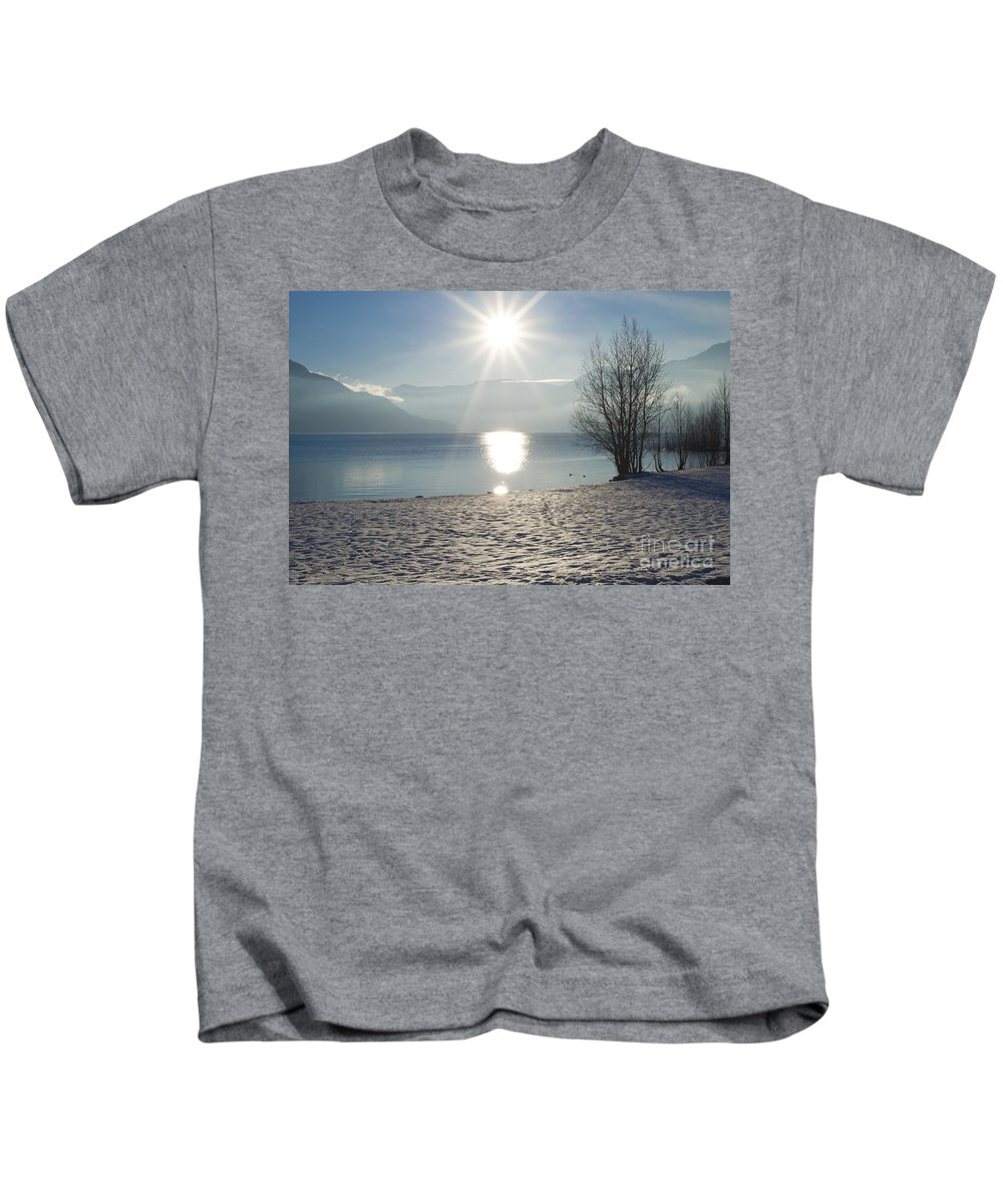 Lake Kids T-Shirt featuring the photograph Alpine Lake With Snow by Mats Silvan
