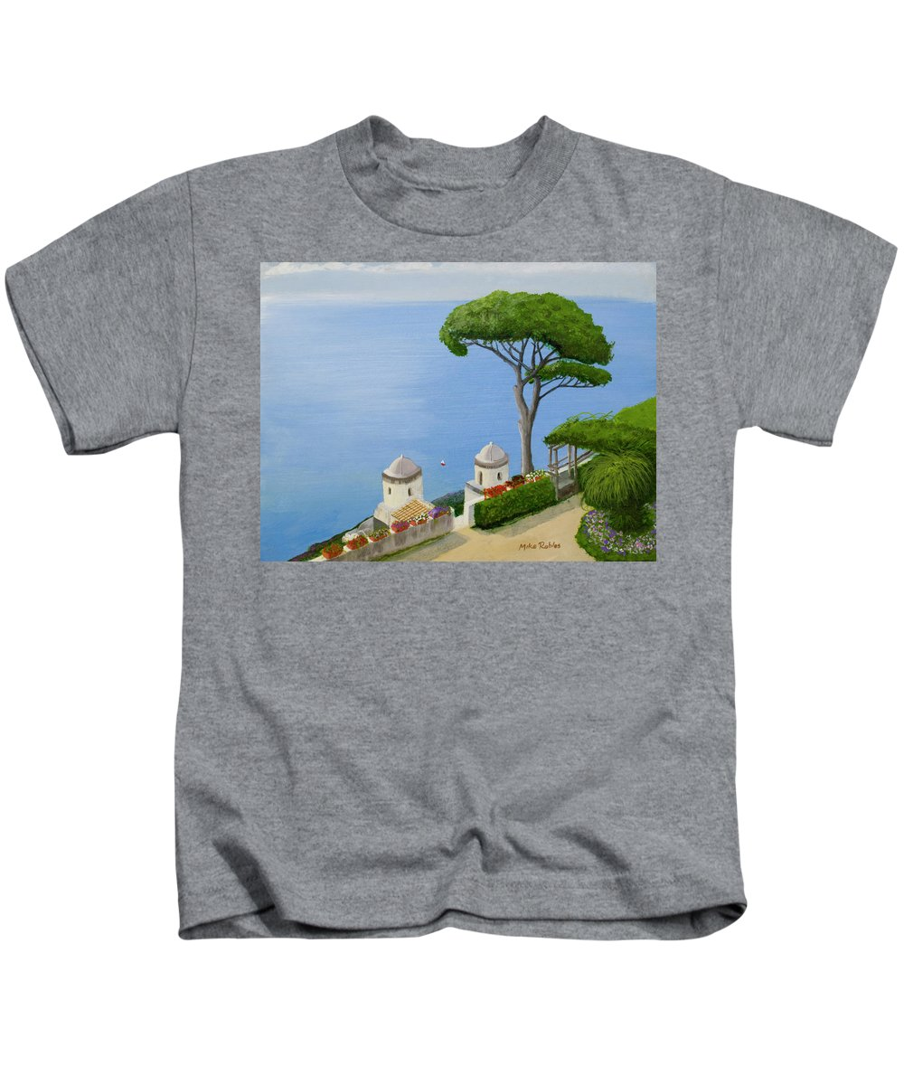 Amalfi Kids T-Shirt featuring the painting Amalfi Coast From Ravello by Mike Robles