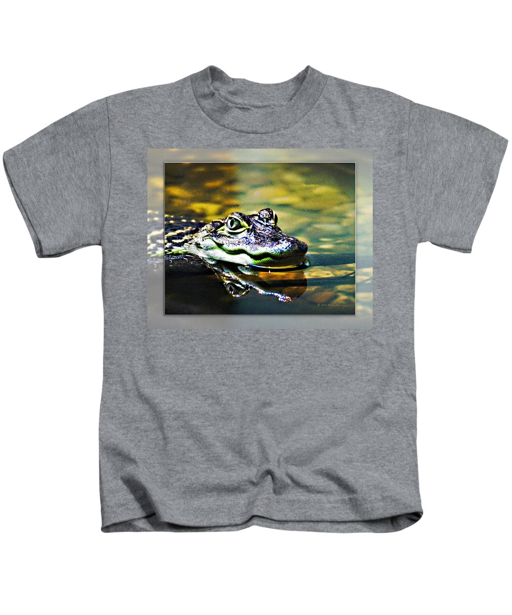 Rolling Hills Wildlife Adventure  Kids T-Shirt featuring the photograph American Alligator 2 by Walter Herrit