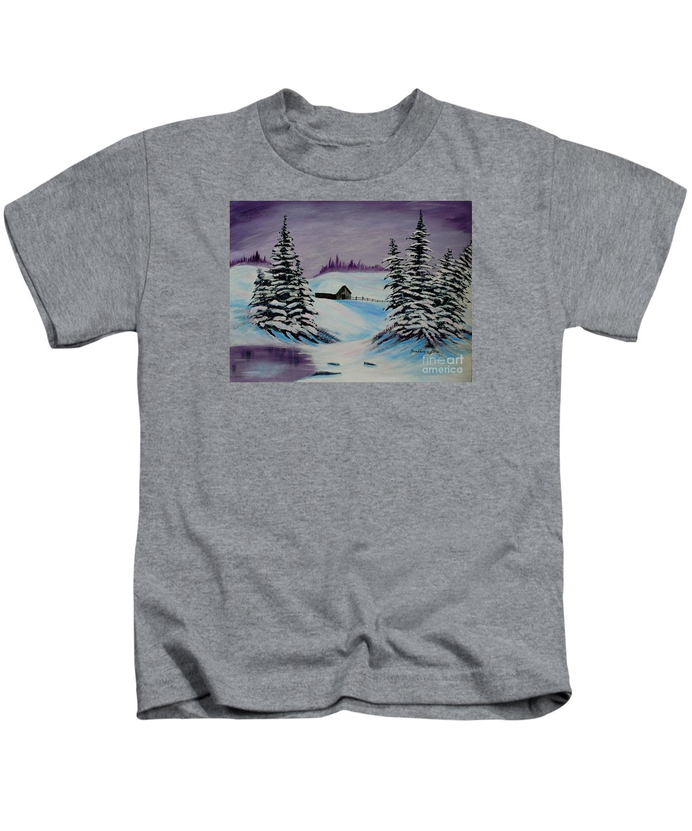Barbara Griffin Kids T-Shirt featuring the painting Amethyst Evening After Ross by Barbara Griffin
