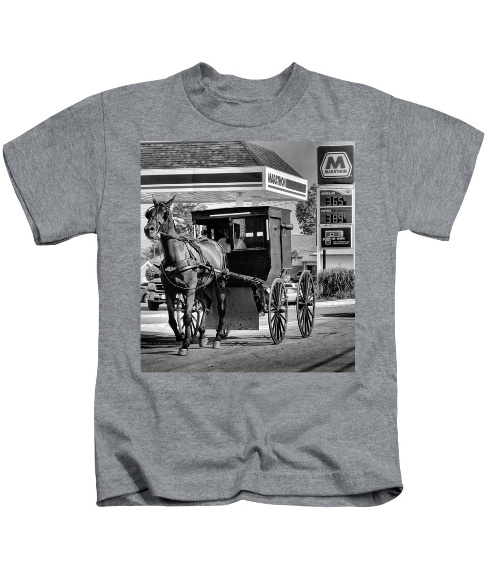 Gas Price Kids T-Shirt featuring the photograph Amish Gas by Dan Sproul