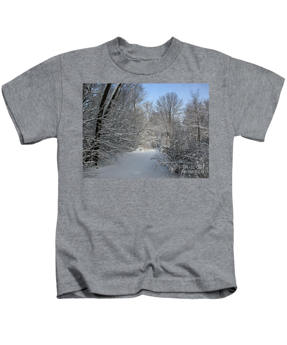 Timothy Hacker Kids T-Shirt featuring the photograph Amongst The Trees by Timothy Hacker