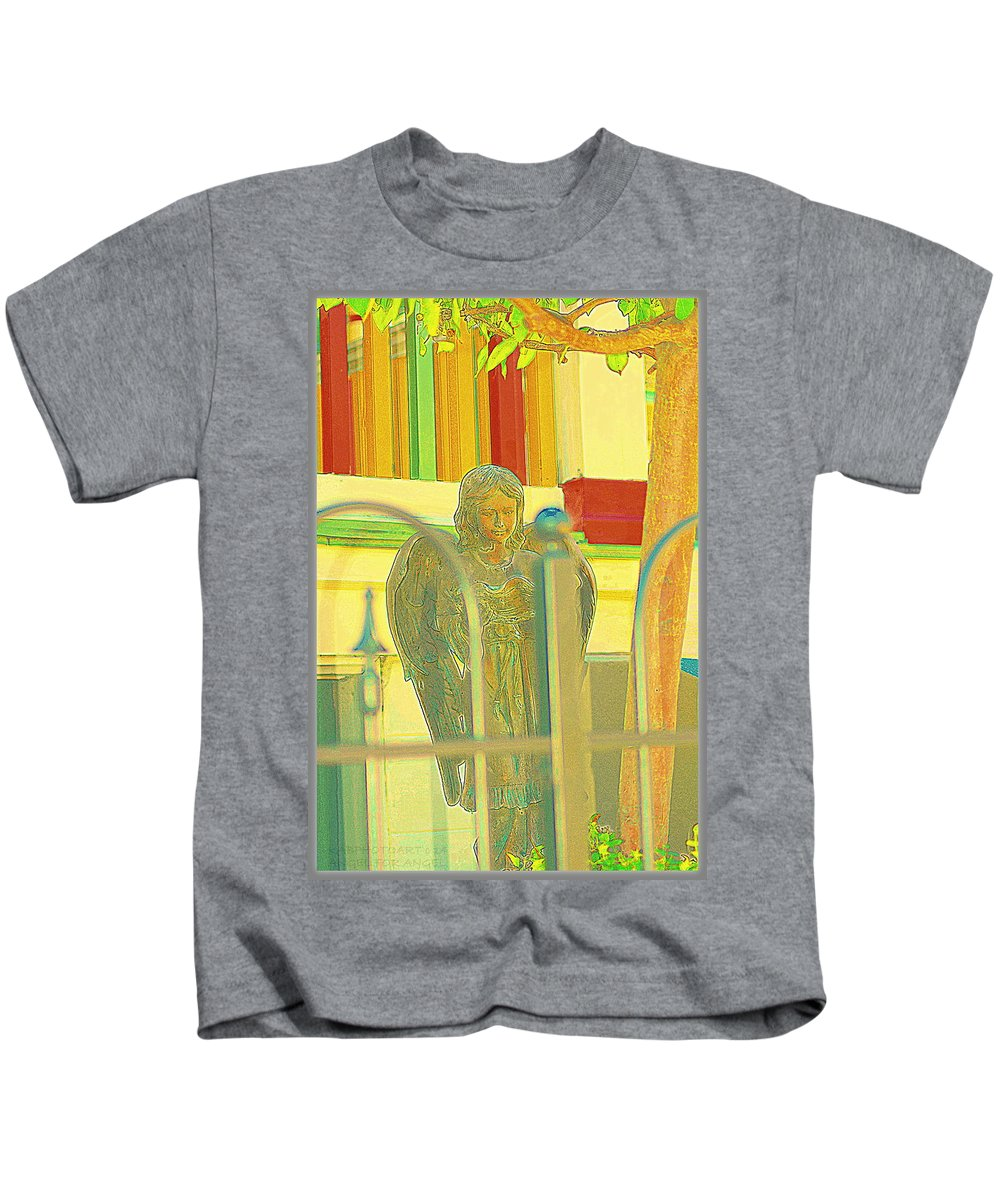 Sculpture Kids T-Shirt featuring the photograph An Angel For An Angel by Kathy Barney