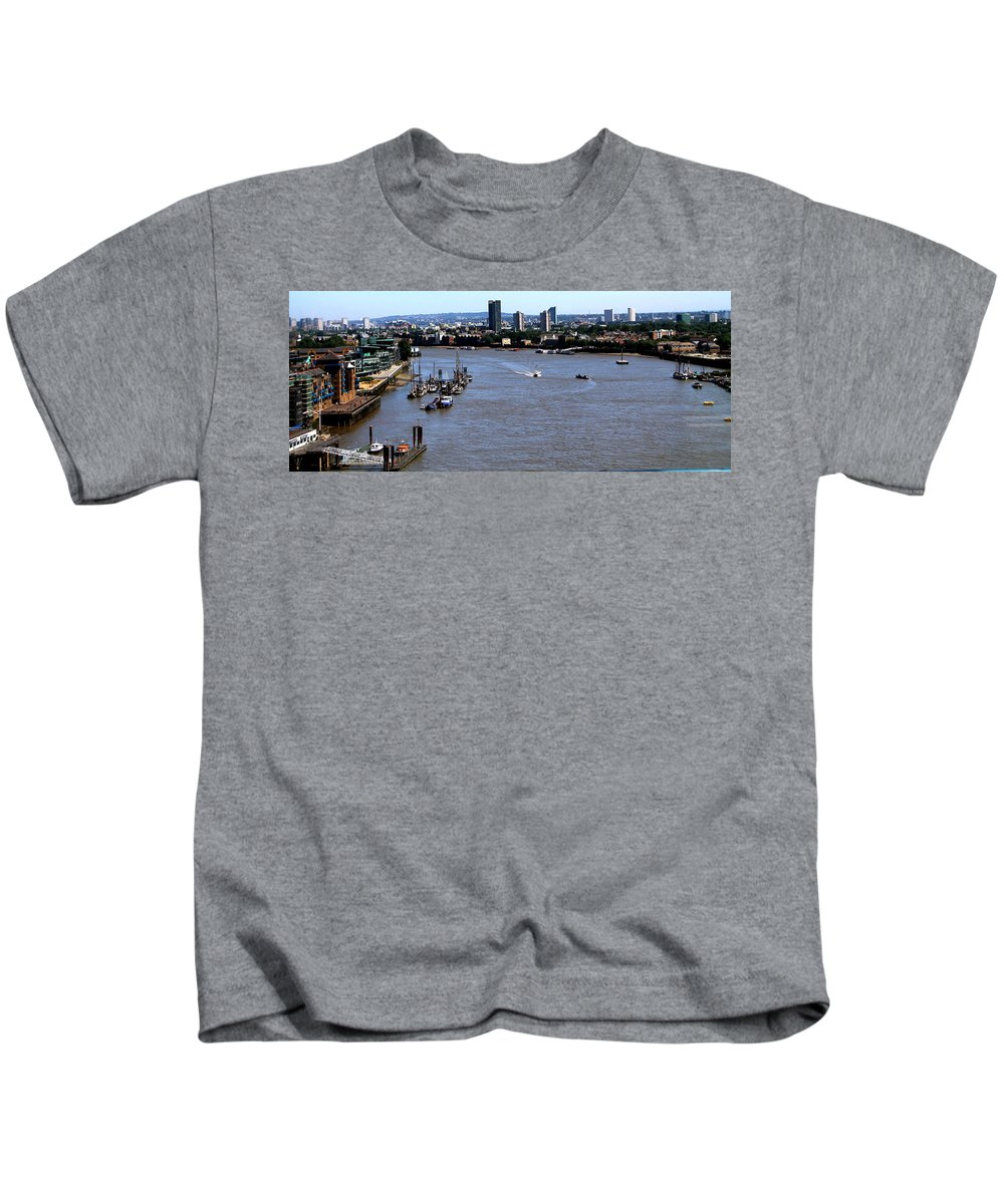 Tower Bridge Kids T-Shirt featuring the photograph An Expansive View From The Tower Bridge by Laurel Talabere