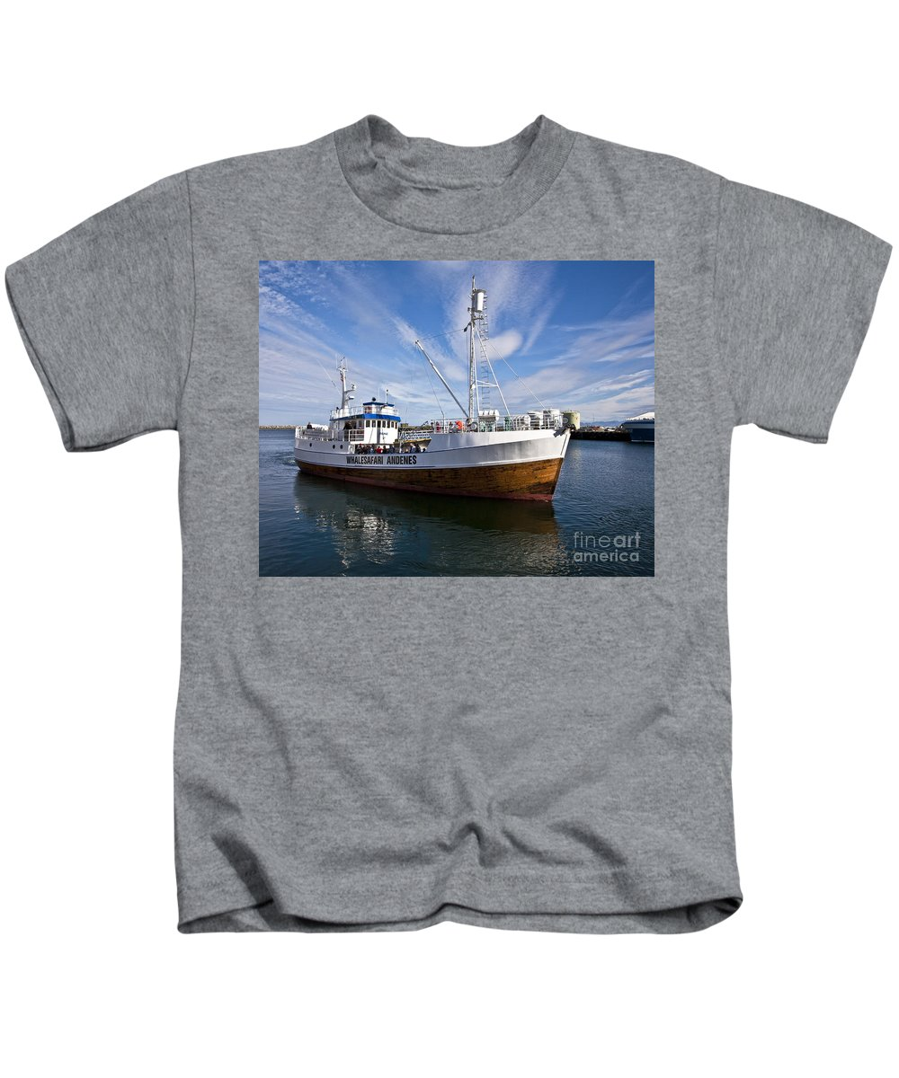 Heiko Kids T-Shirt featuring the photograph Andenes Safari Boat by Heiko Koehrer-Wagner