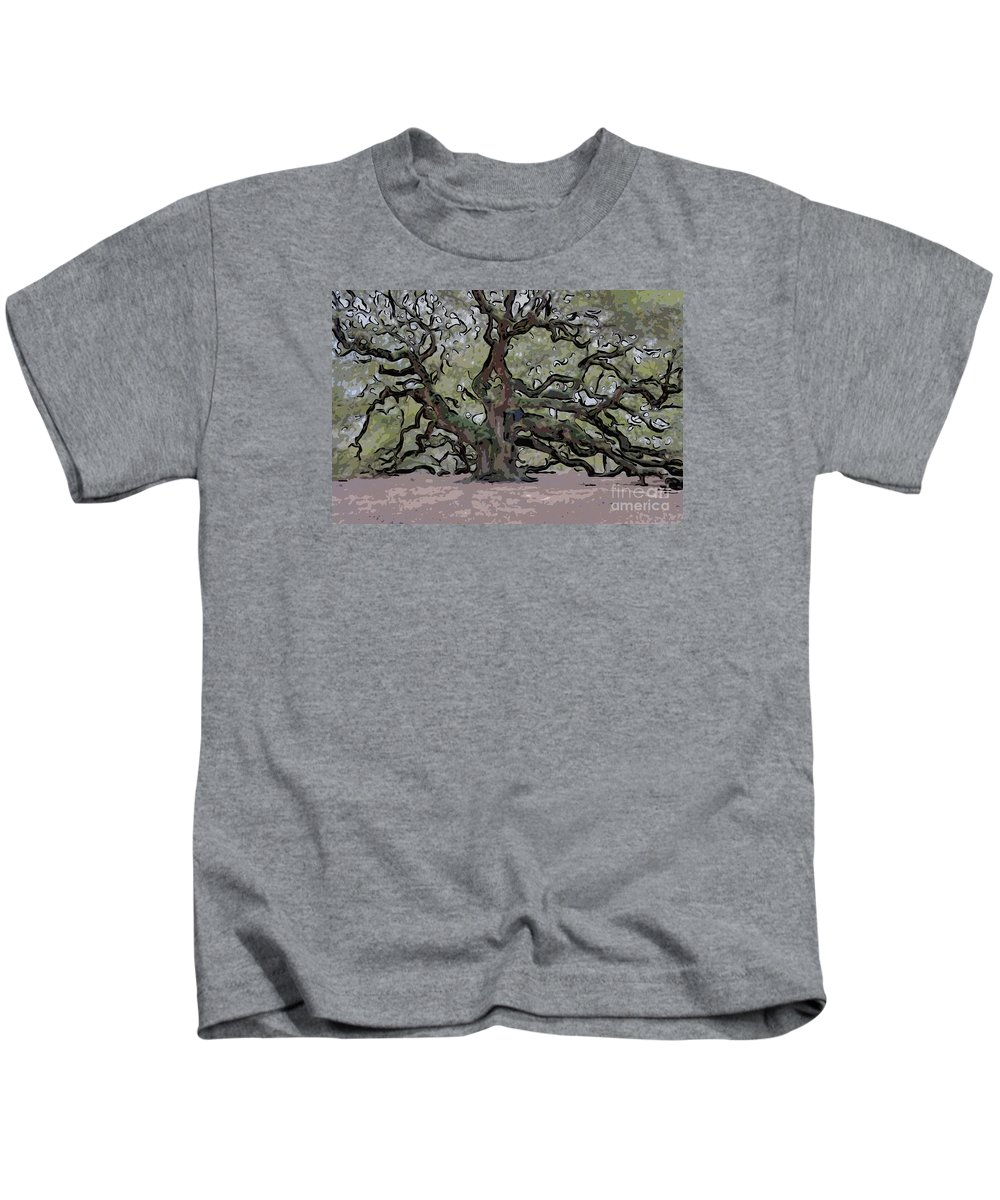 Angel Oak Tree Kids T-Shirt featuring the digital art Angel Oak Digital Art by Dale Powell