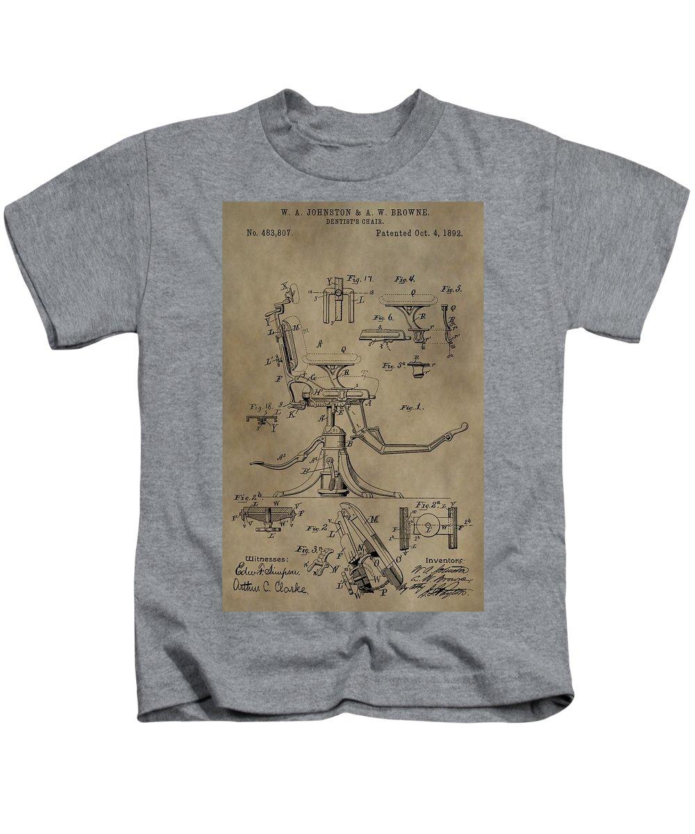 Antique Dental Chair Patent Kids T-Shirt featuring the mixed media Antique Dental Chair Patent by Dan Sproul