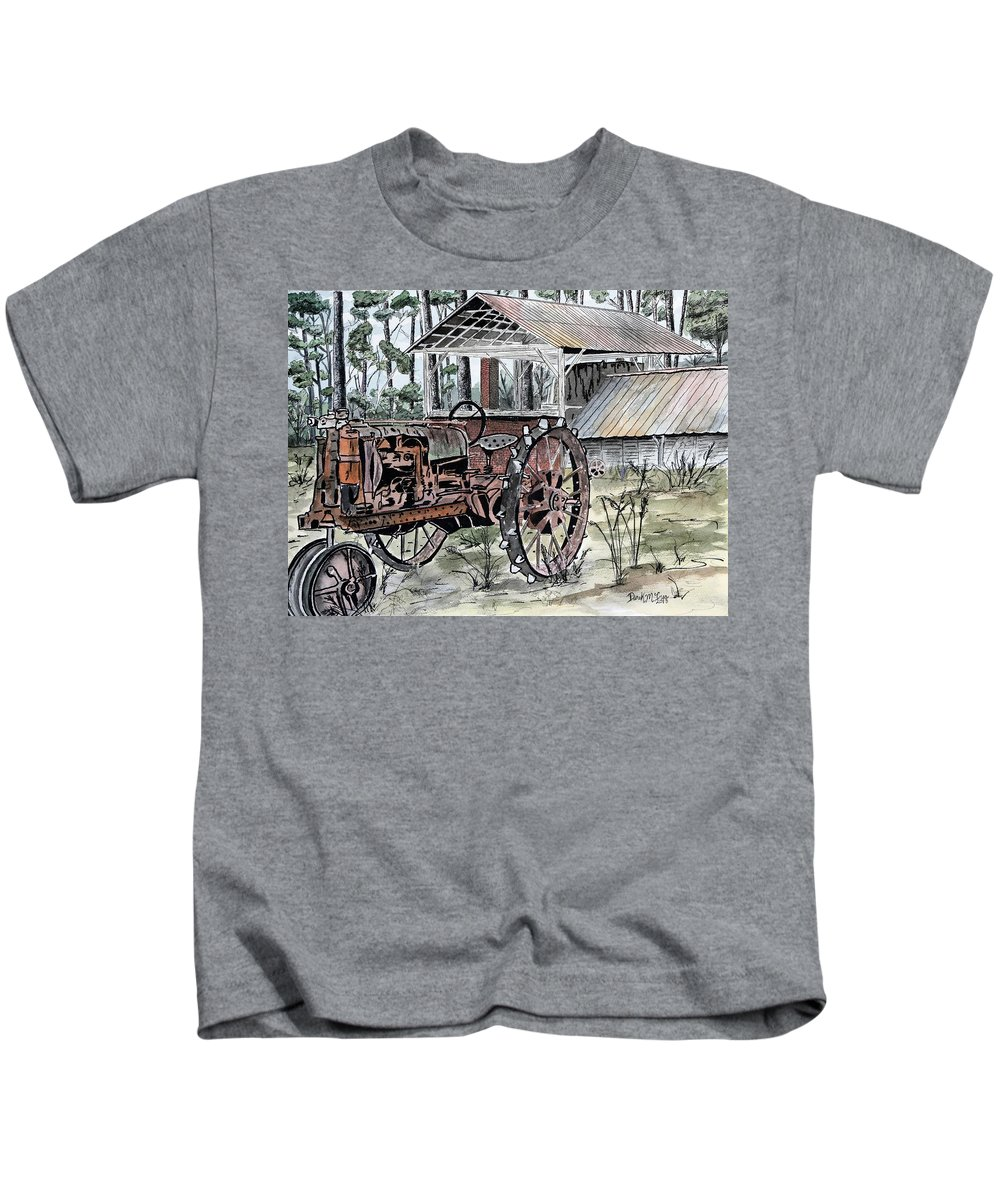 Tractor Kids T-Shirt featuring the painting Antique Farm Tractor  by Derek Mccrea
