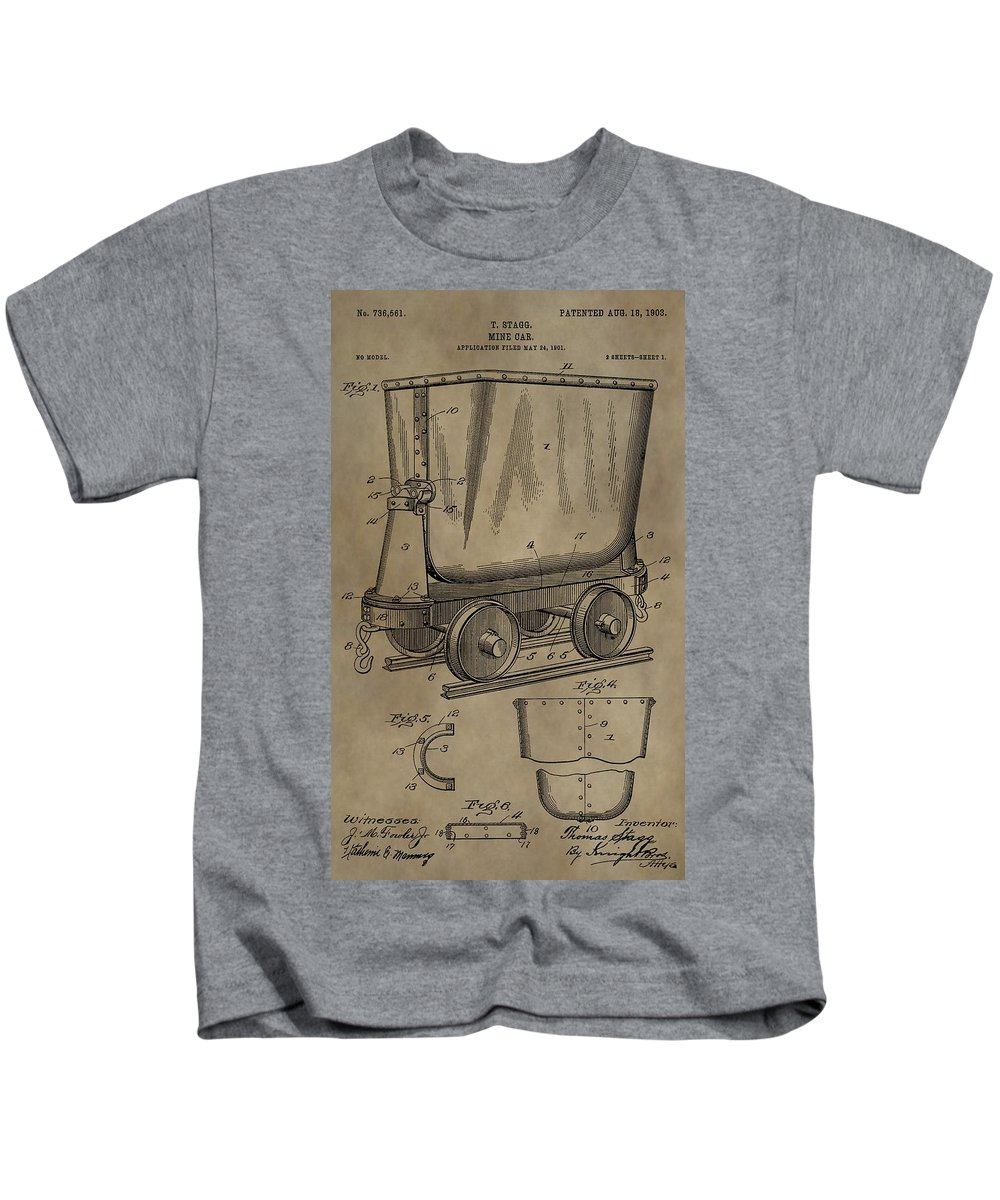 Antique Mining Trolley Patent Kids T-Shirt featuring the digital art Antique Mining Trolley Patent by Dan Sproul