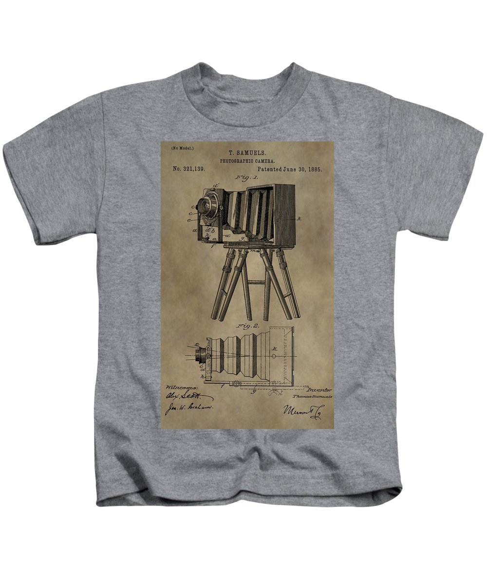 Antique Photographic Camera Patent Kids T-Shirt featuring the digital art Antique Photographic Camera Patent by Dan Sproul