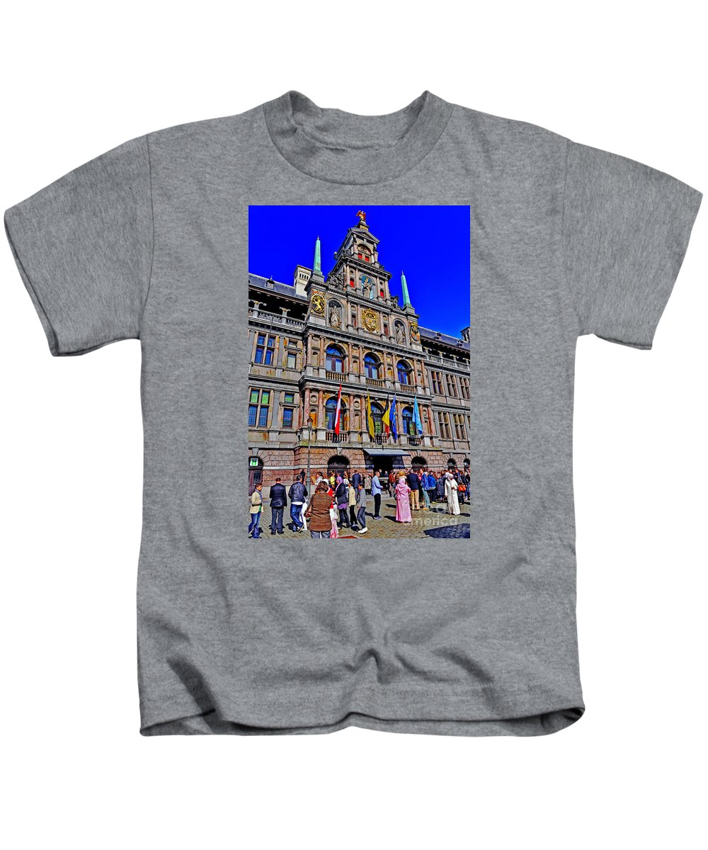 Travel Kids T-Shirt featuring the photograph Antwerp's City Hall by Elvis Vaughn