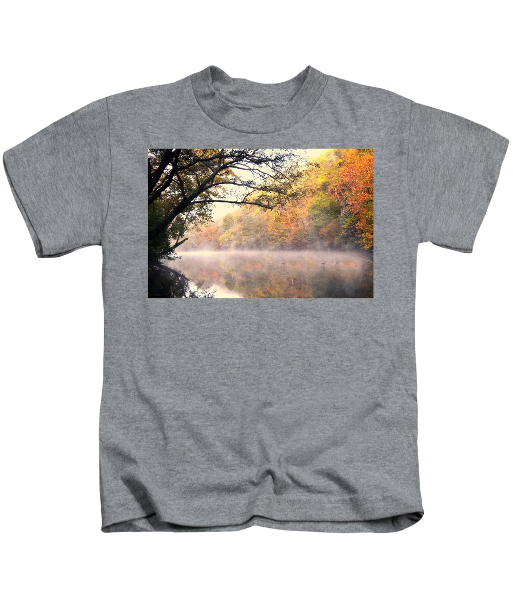 Fall Kids T-Shirt featuring the photograph Arching Tree On The Current River by Marty Koch