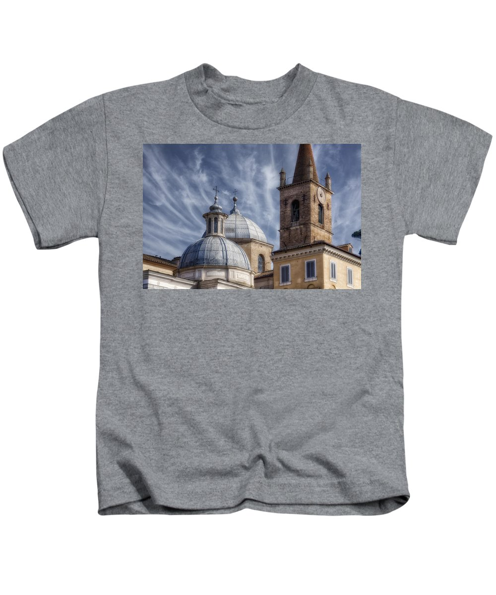 Aerial Kids T-Shirt featuring the photograph Architecture Del Popolo by Joan Carroll