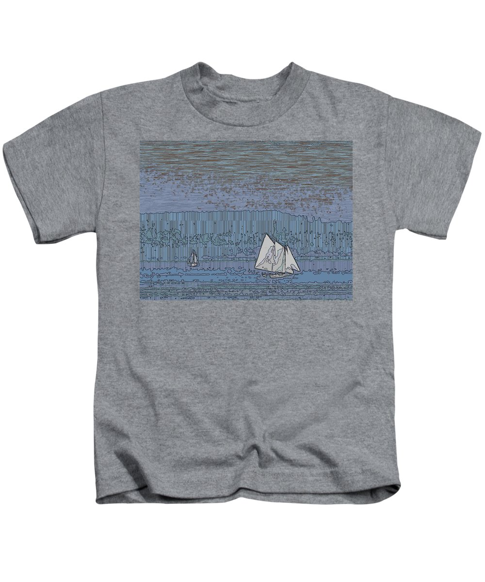 Sail Kids T-Shirt featuring the digital art As Dusk Sets Over The Sound by Tim Allen