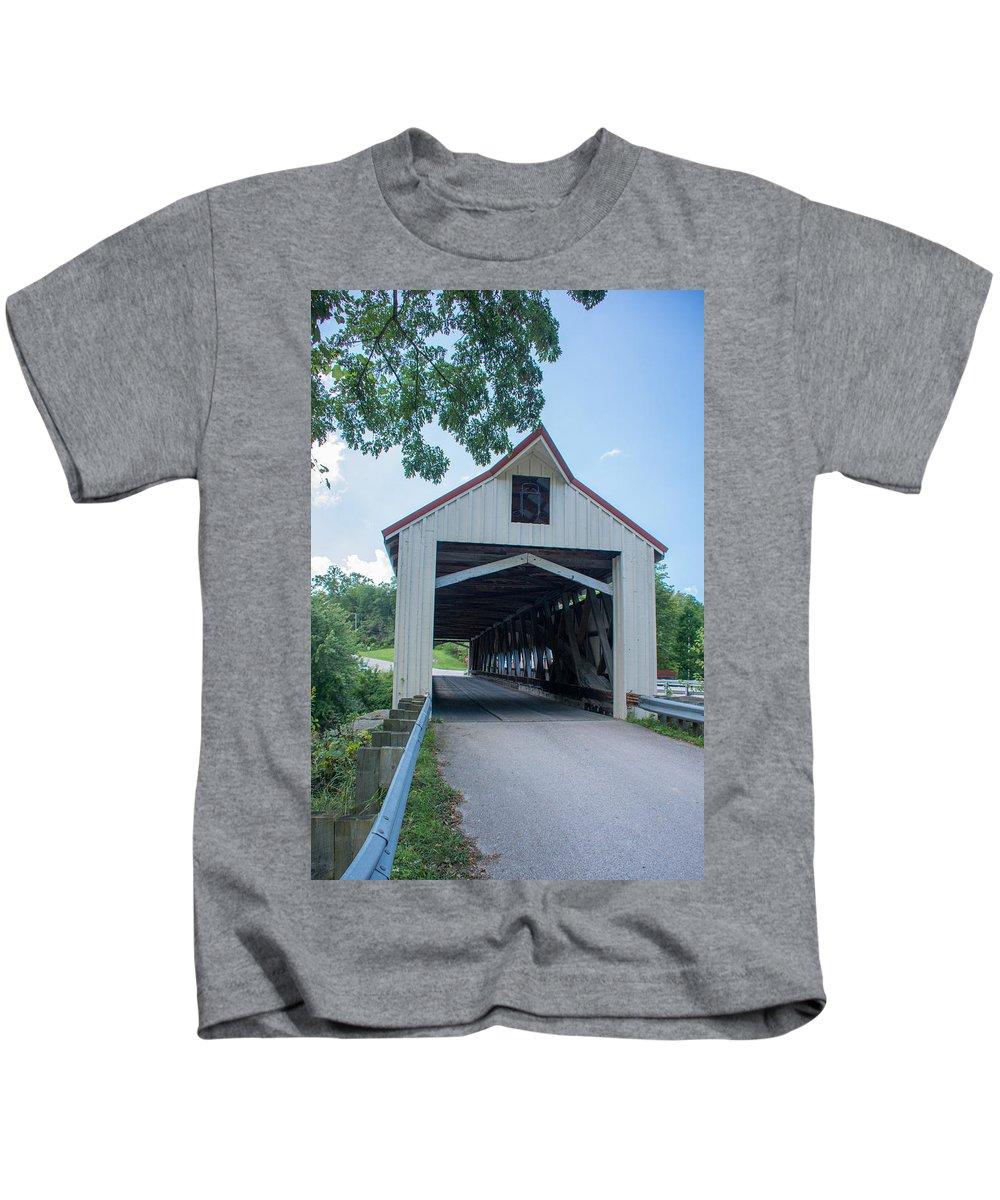 Ashtabula County Covered Bridges Kids T-Shirt featuring the photograph Ashtabula Collection - Mechanicsville Road Covered Bridge 7k0207 by Guy Whiteley