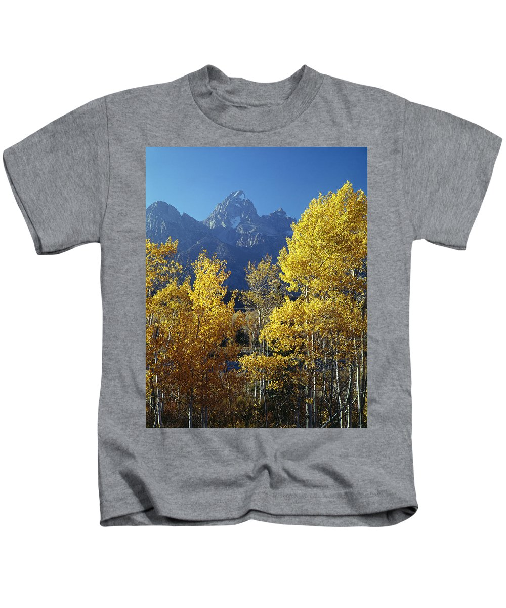 Aspens Kids T-Shirt featuring the photograph 1m9356-v-aspens And The Grand Teton by Ed Cooper Photography