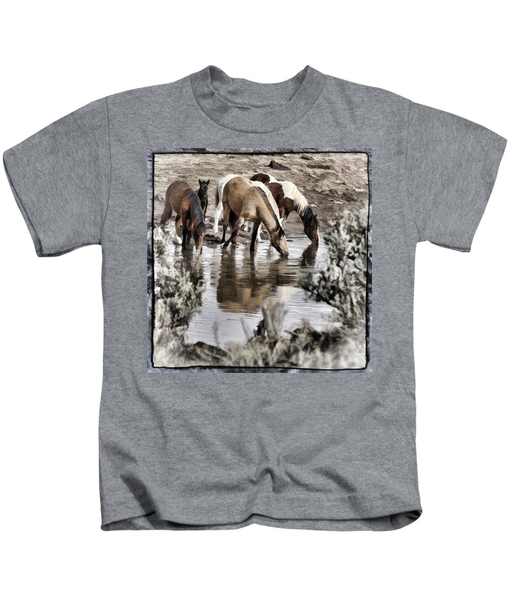 At The Watering Hole 1 Kids T-Shirt featuring the photograph At The Watering Hole 1 by Wes and Dotty Weber