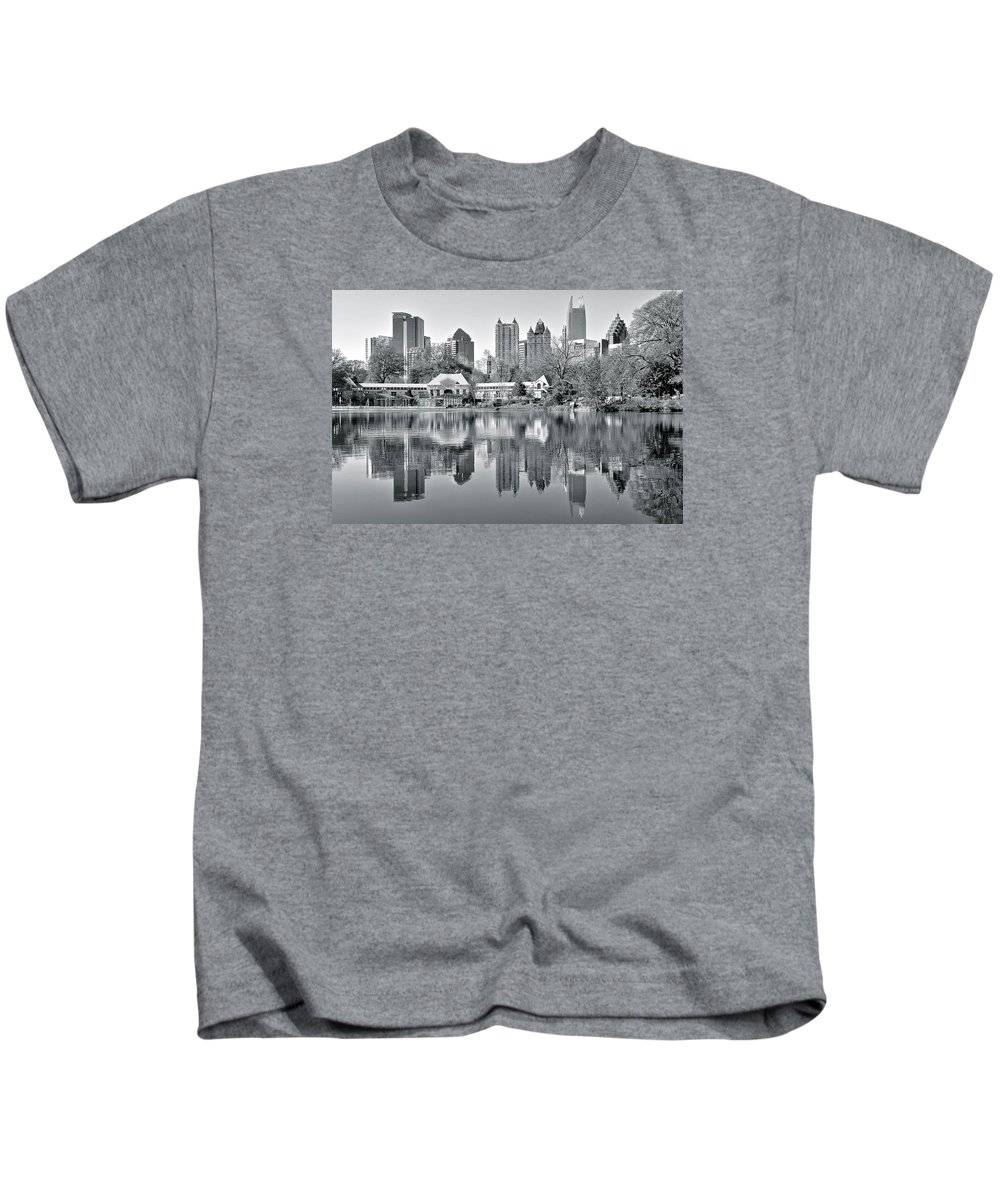 Atlanta Kids T-Shirt featuring the photograph Atlanta Reflecting In Black And White by Frozen in Time Fine Art Photography