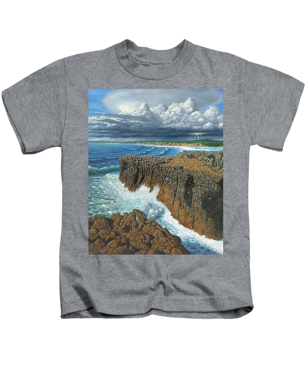 Landscapes Kids T-Shirt featuring the painting Atlantic Breakers Pontal Portugal by Richard Harpum