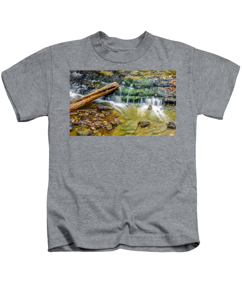 Optical Playground By Mp Ray Kids T-Shirt featuring the photograph Au Train Falls Iv by Optical Playground By MP Ray