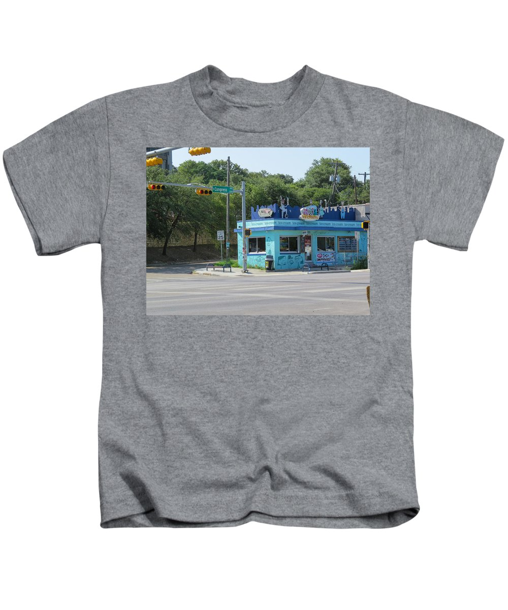 Texas Kids T-Shirt featuring the photograph Austin Texas Congress Street Shop by JG Thompson