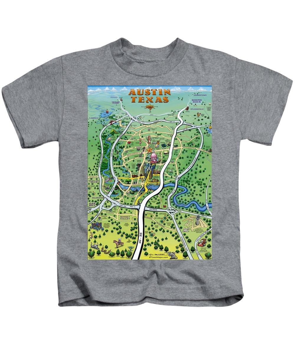 Austin Kids T-Shirt featuring the digital art Austin Tx Cartoon Map by Kevin Middleton