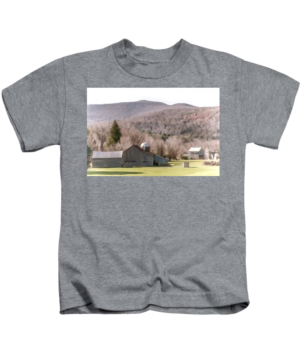 Agriculture Kids T-Shirt featuring the photograph Autumn Farm In Catskills by Ray Summers Photography