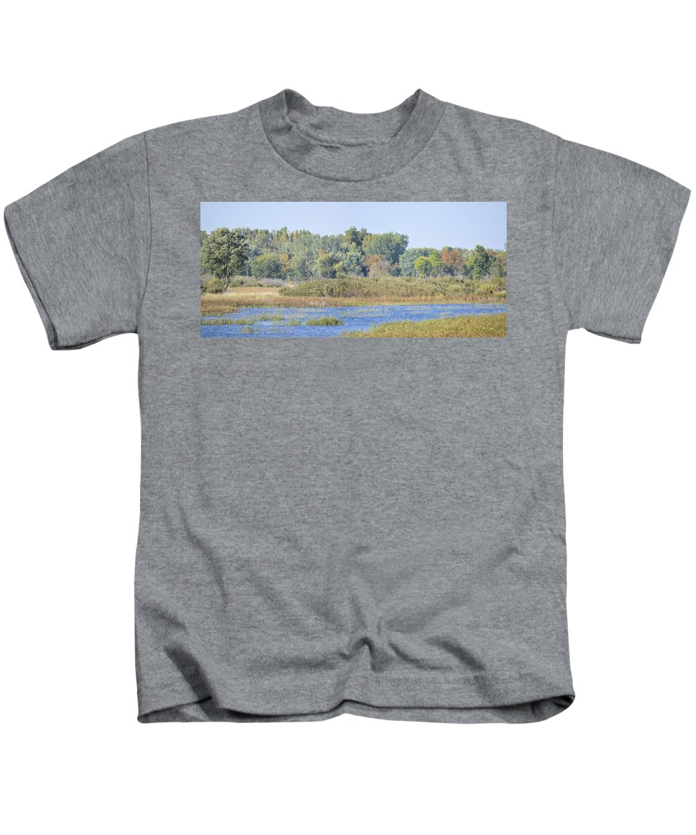 Autumn Kids T-Shirt featuring the photograph Autumn On The Marsh by Bonfire Photography