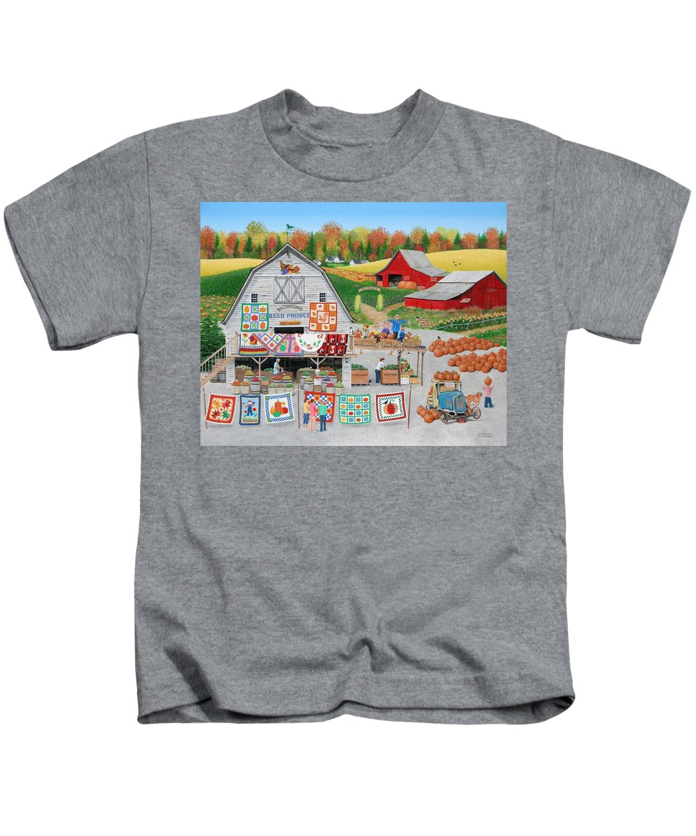 Folkart Kids T-Shirt featuring the painting Autumn Quilts by Wilfrido Limvalencia