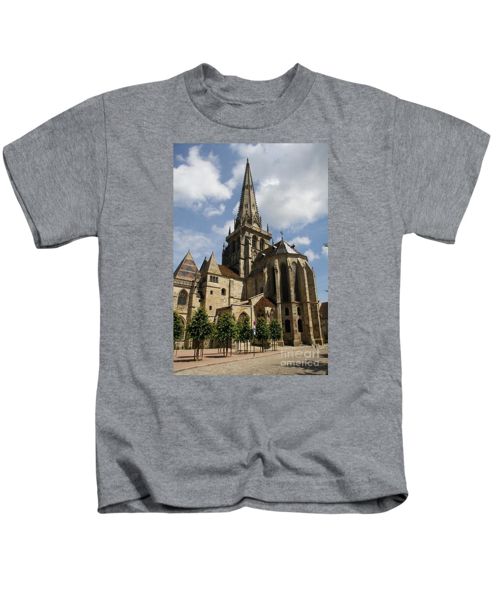 Cathedral Kids T-Shirt featuring the photograph Autun Cathedral View Burgundy by Christiane Schulze Art And Photography