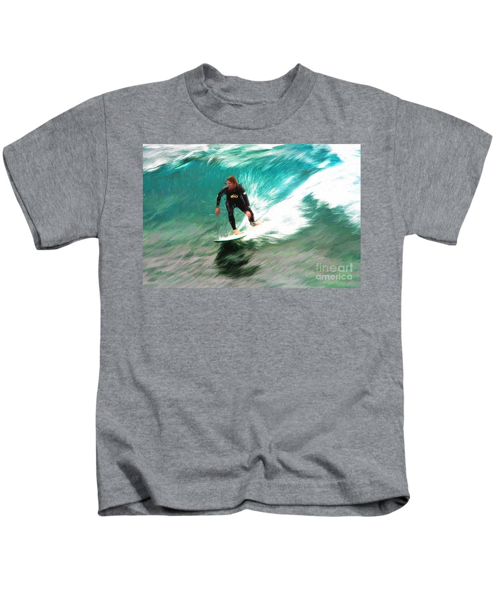 Surfer Kids T-Shirt featuring the photograph Avalono surfer by Sheila Smart Fine Art Photography