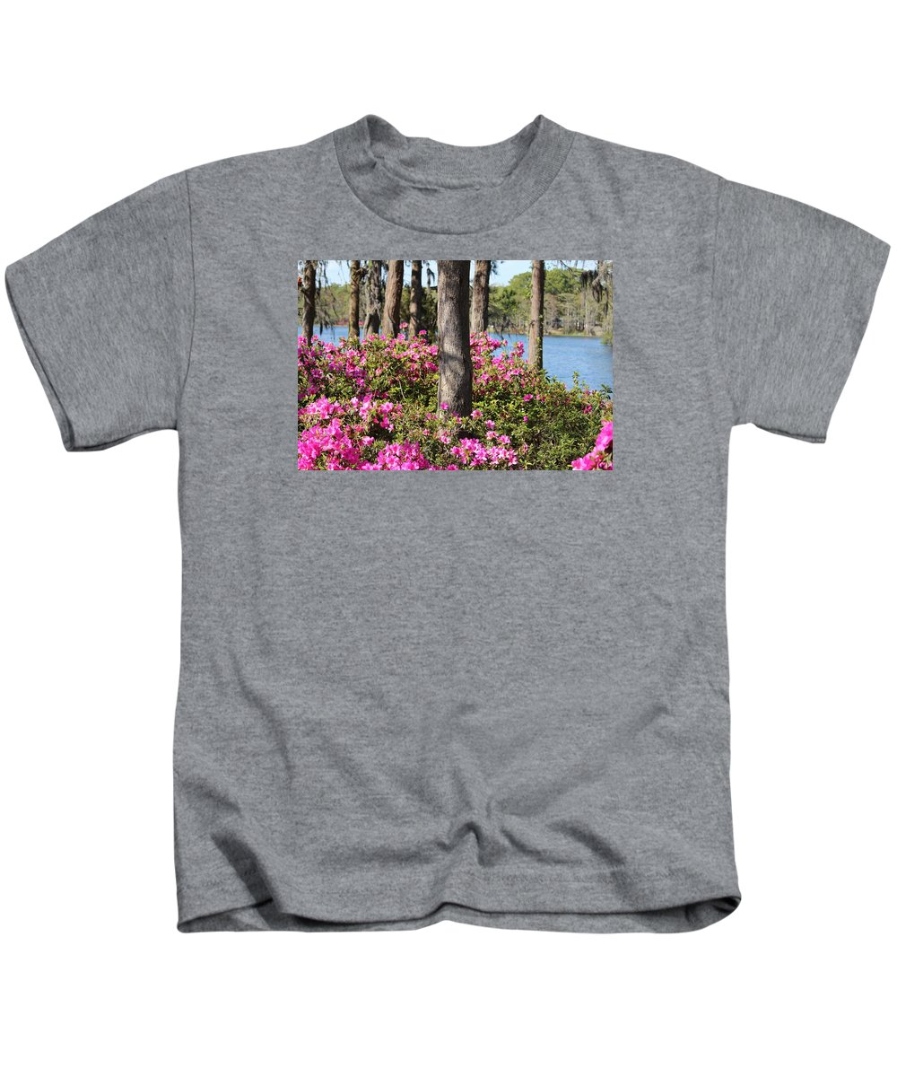 Azalea Kids T-Shirt featuring the photograph Azalea At The Lake by Cynthia Guinn