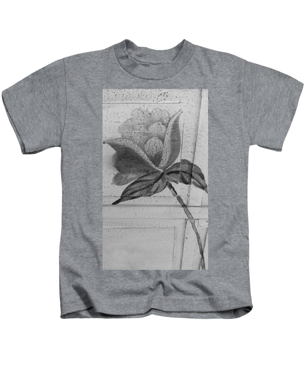 Flowers Kids T-Shirt featuring the photograph B W Wood Flower by Rob Hans