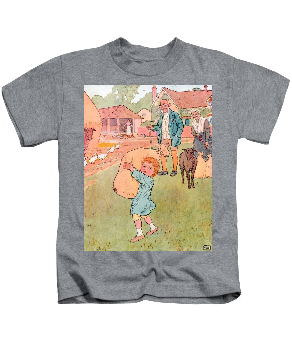 Nursery; Rhyme; Rhymes; Songs; Baa Baa Black Sheep; One For My Master; Bag; Sheep; Boy; Wool; Bags Kids T-Shirt featuring the drawing Baa Baa Black Sheep by Leonard Leslie Brooke