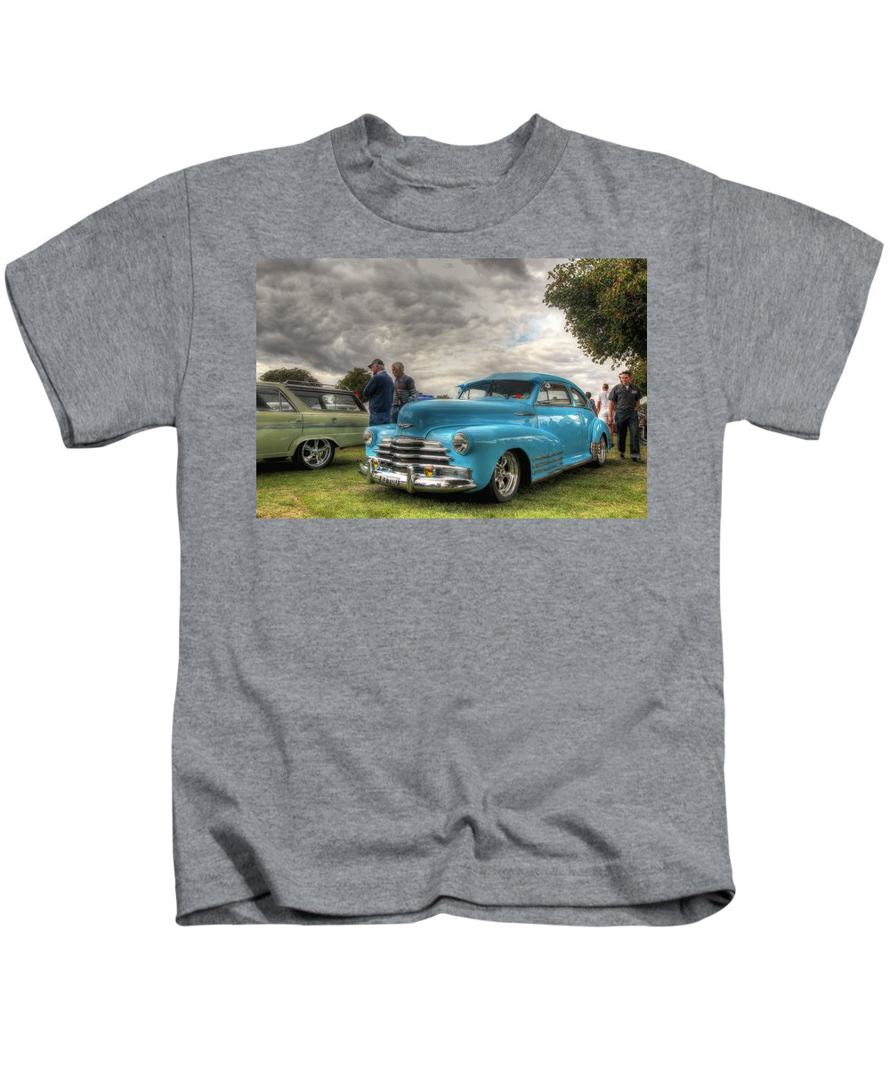 Chevy Kids T-Shirt featuring the photograph Baby Blue Fleetline by Lee Nichols