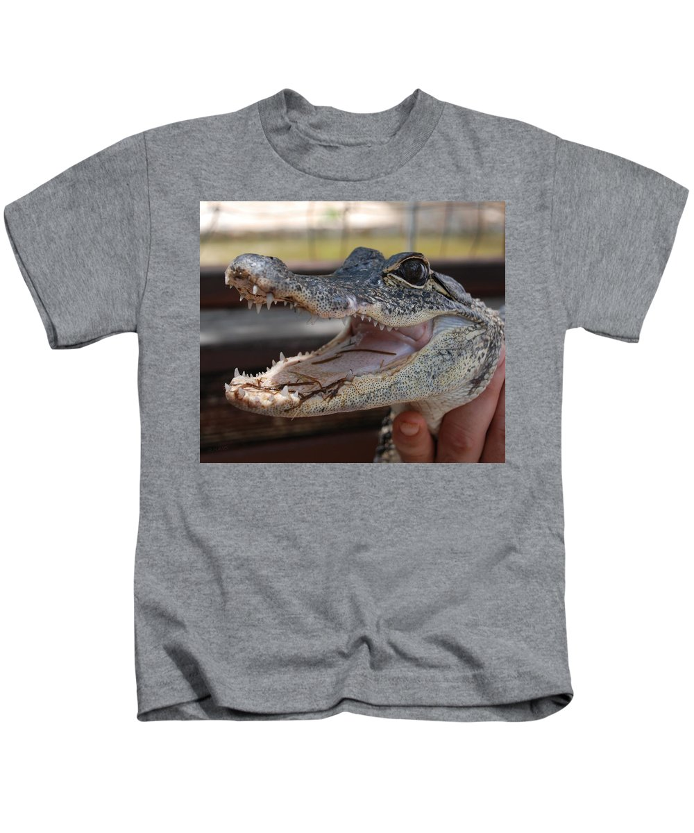 Macro Kids T-Shirt featuring the photograph Baby Gator by Rob Hans