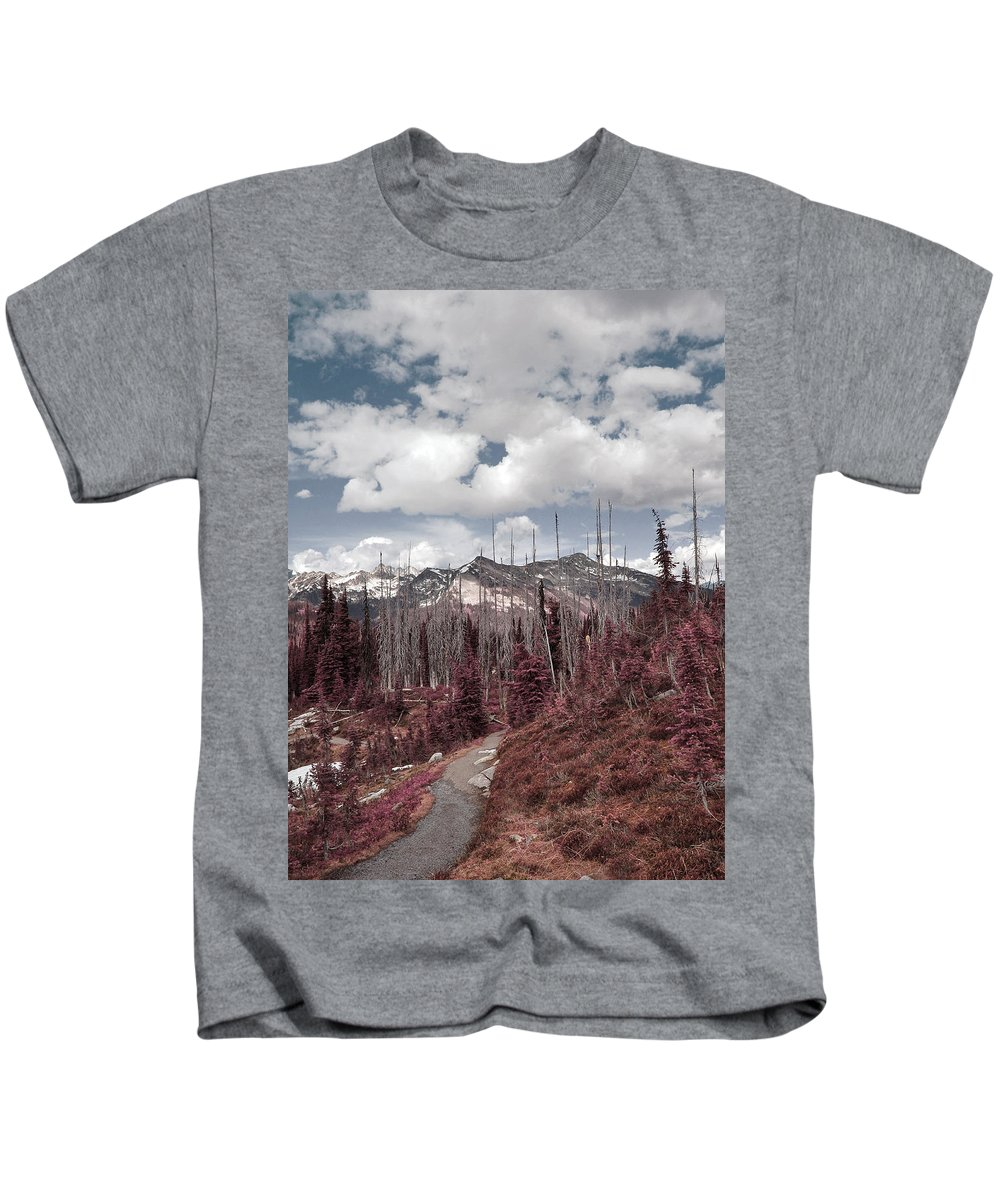 Mountains Kids T-Shirt featuring the photograph Back To Mountains by The Artist Project