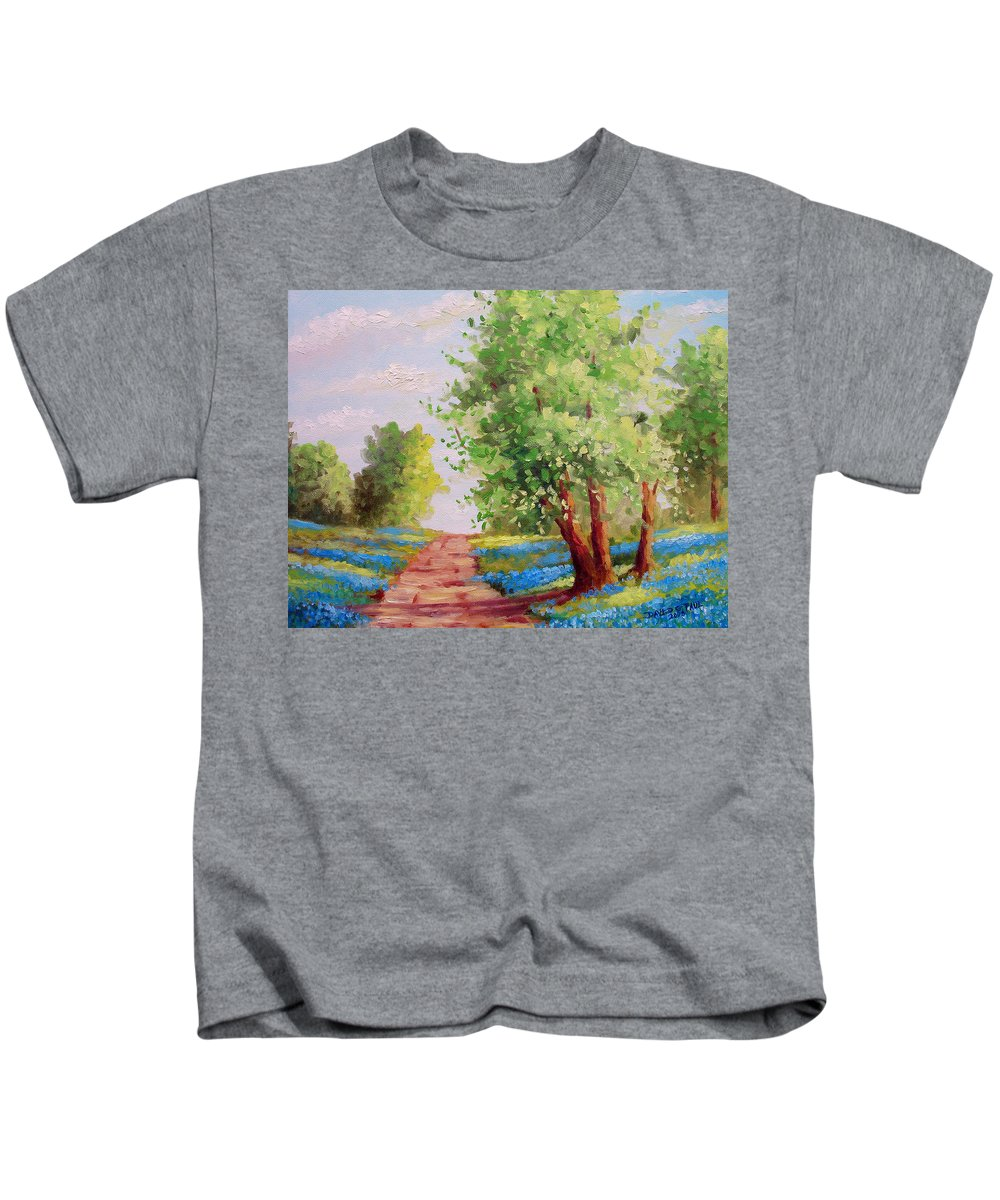 Bluebonnets Kids T-Shirt featuring the painting Backroad Bluebonnets by David G Paul