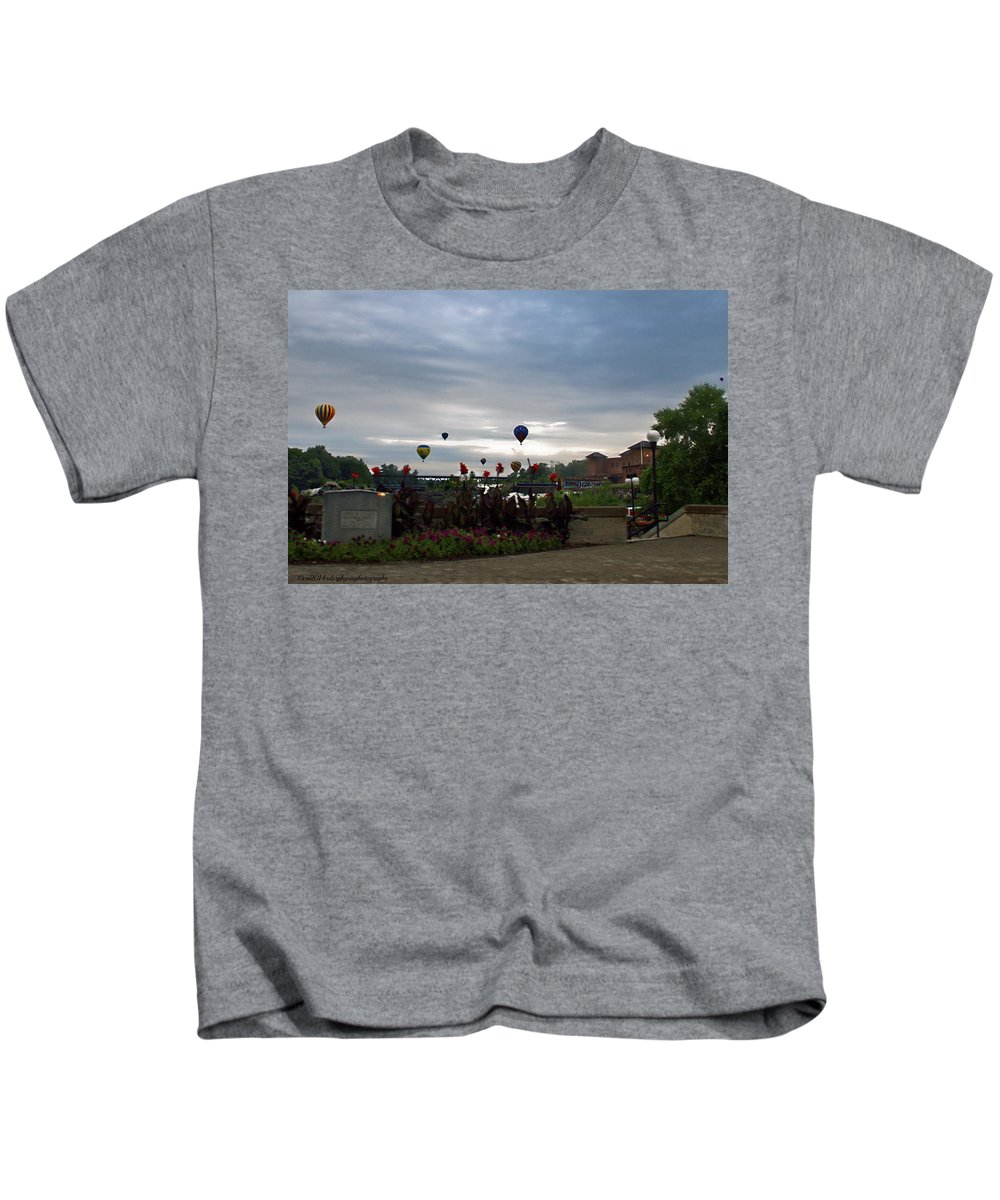 Lewiston Maine Kids T-Shirt featuring the photograph Balloons Over Lewiston by Catherine Melvin
