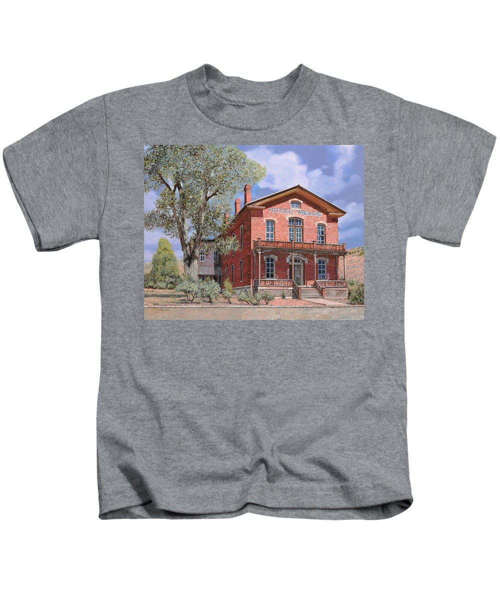 Montana Kids T-Shirt featuring the painting Bannock-montana-hotel Meade by Guido Borelli