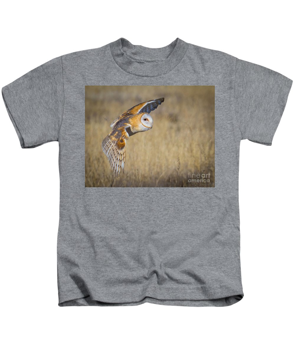 Barn Owl Kids T-Shirt featuring the photograph Barn Owl In Flight by Matt Hoffmann