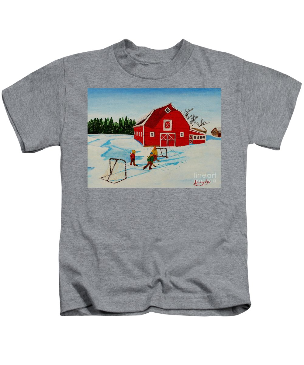 Hockey Kids T-Shirt featuring the painting Barn Yard Hockey by Anthony Dunphy