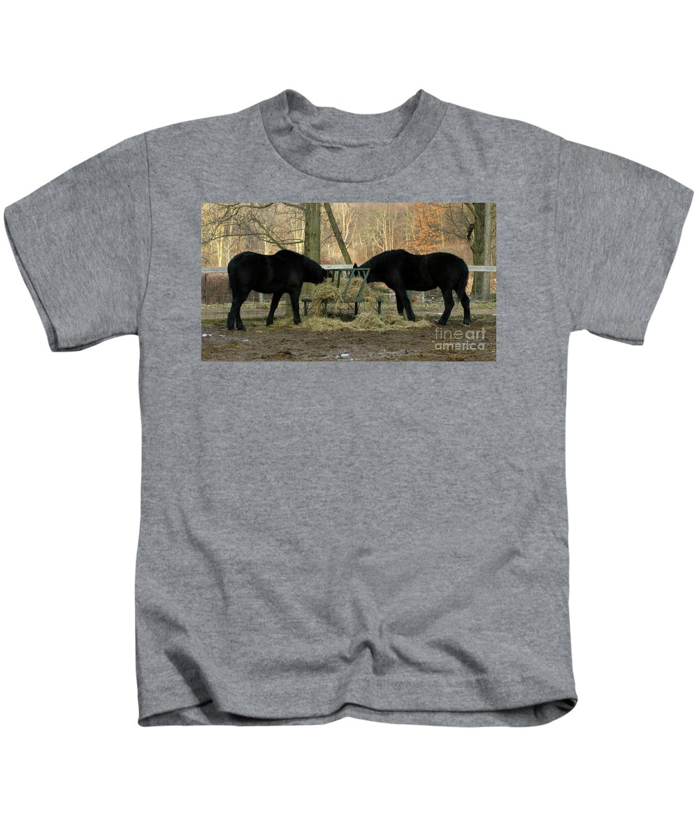 Horse Kids T-Shirt featuring the photograph Barnyard Beauties by Ann Horn