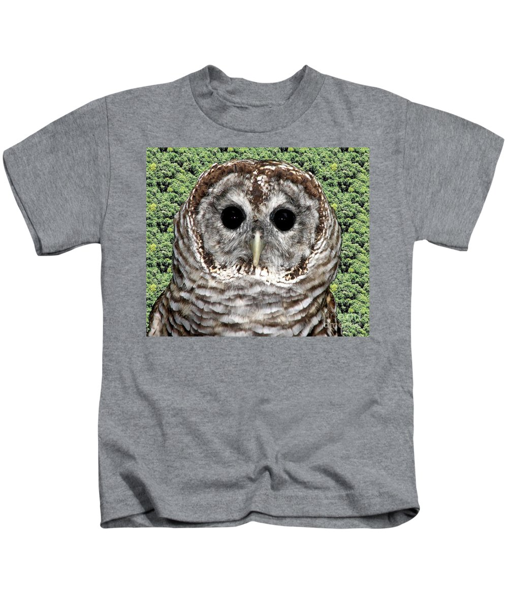 Barred Owl Kids T-Shirt featuring the photograph Barred Owl 1 by Rose Santuci-Sofranko