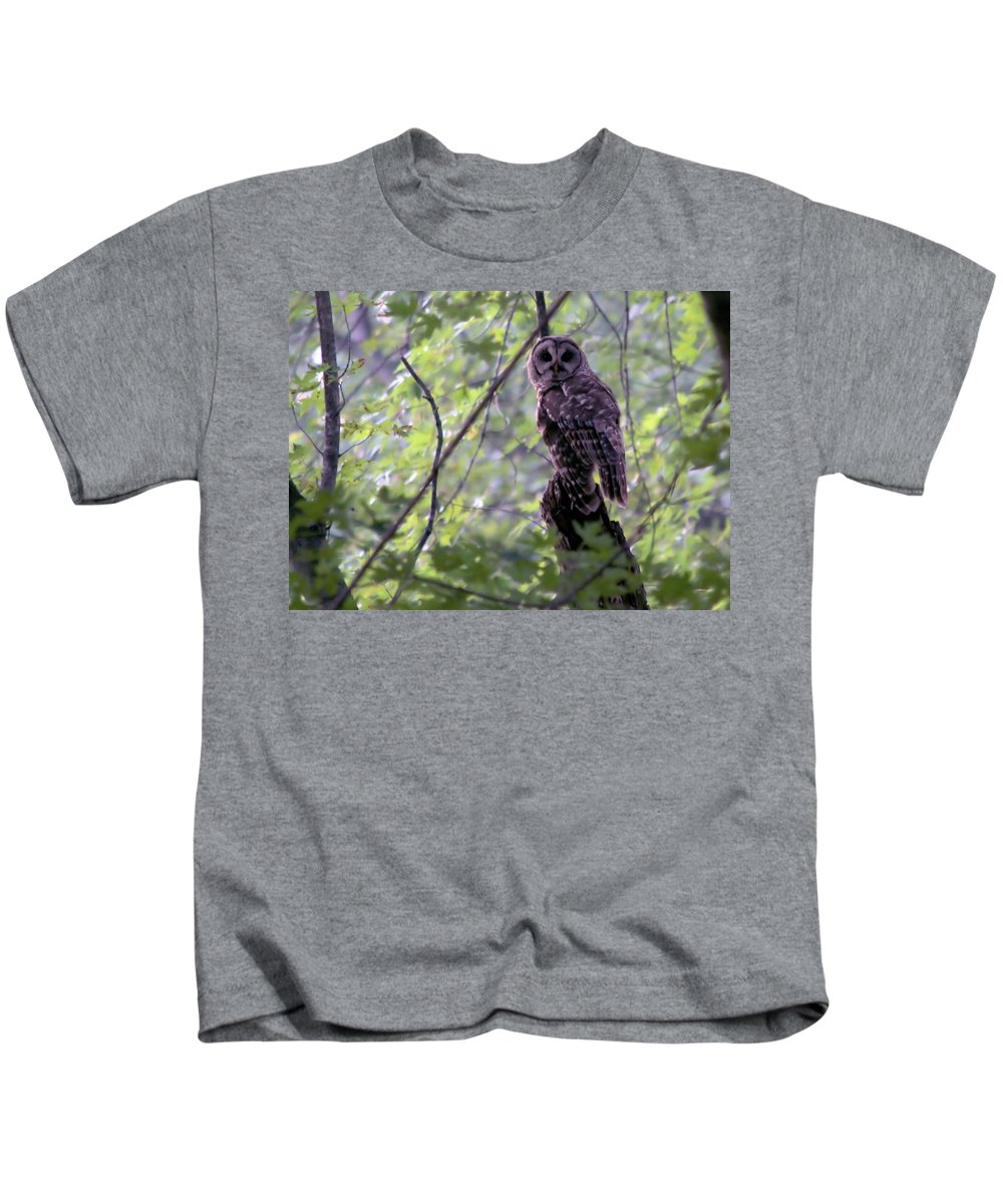 Nature Kids T-Shirt featuring the photograph Barred Owl by Bonfire Photography