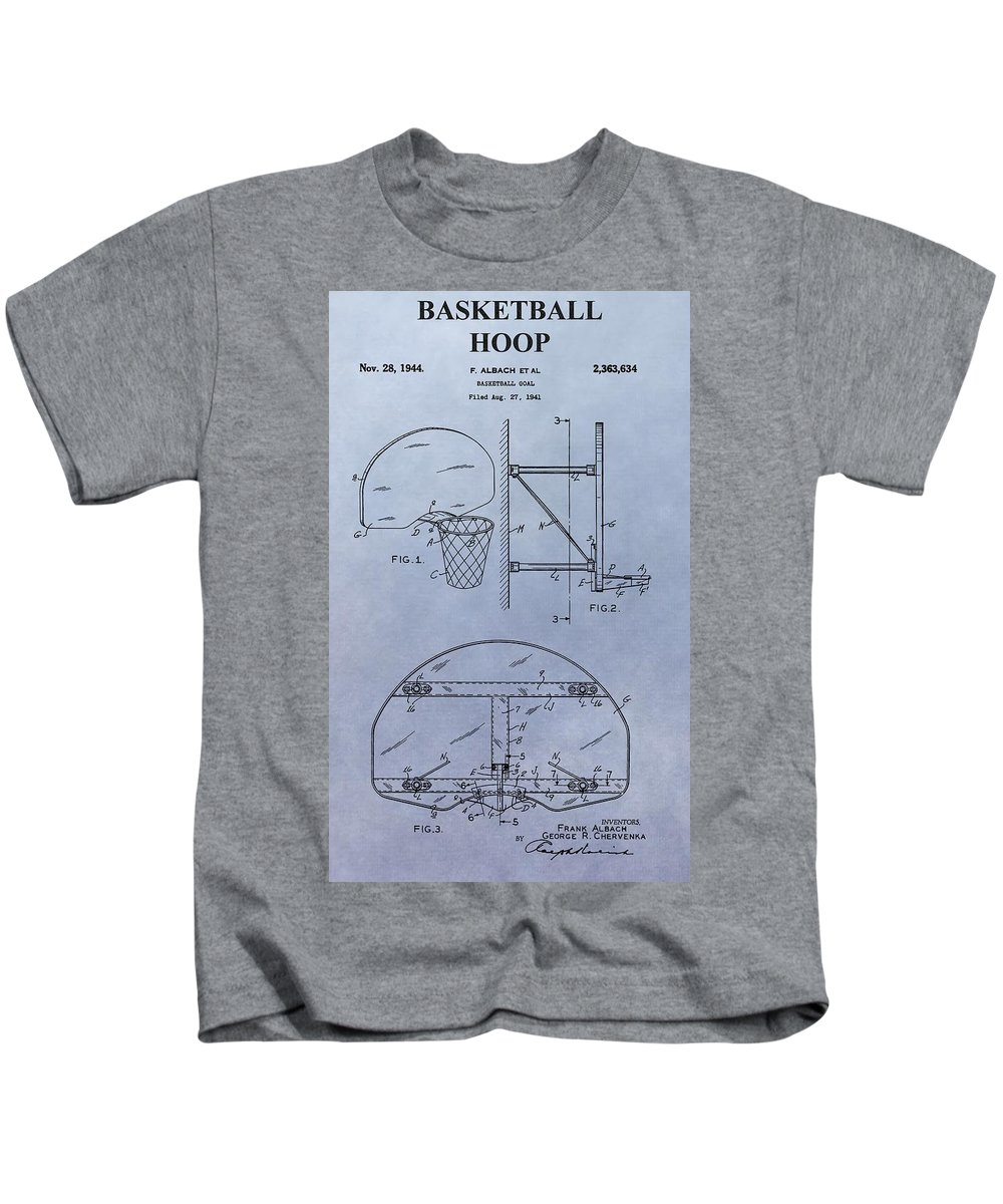 Basketball Hoop Patent Kids T-Shirt featuring the digital art Basketball Hoop by Dan Sproul