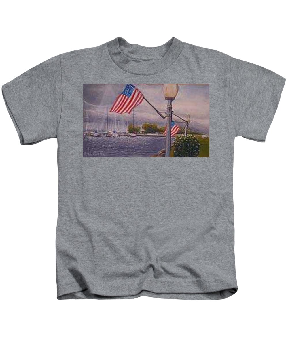 Rick Huotari Kids T-Shirt featuring the painting Bayfield On The 4th by Rick Huotari