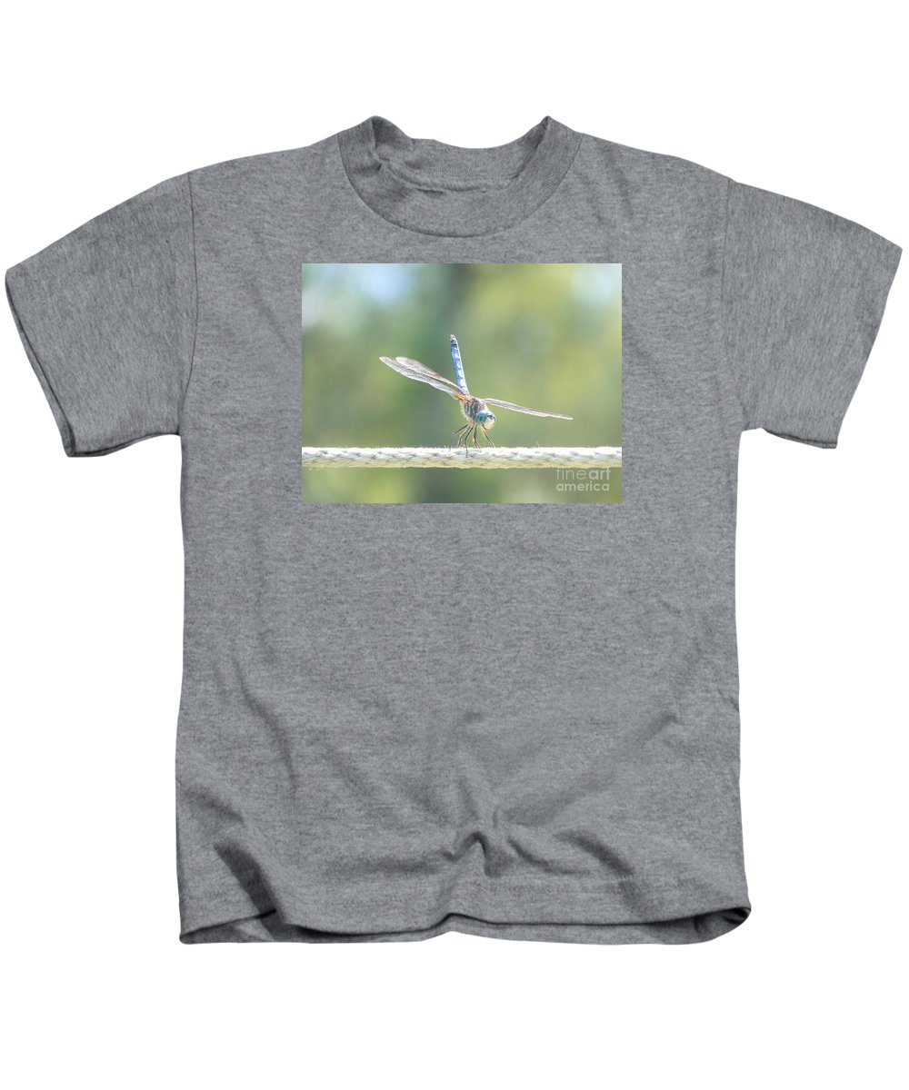 Macro Kids T-Shirt featuring the photograph Smiling Dragonfly by Eunice Miller