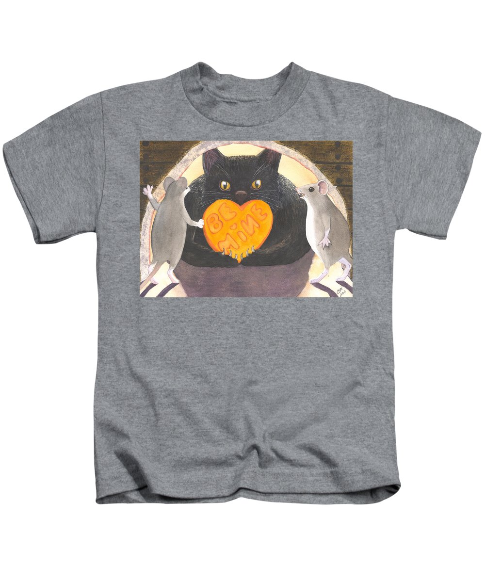Cat Kids T-Shirt featuring the painting Be Mine by Catherine G McElroy